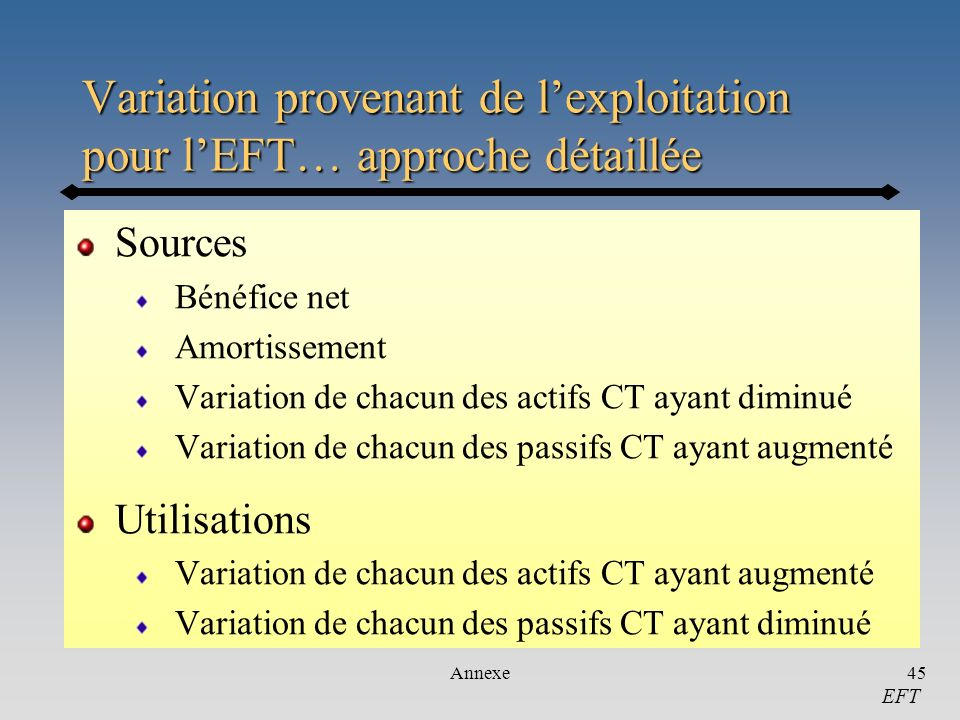 Variation provenant de l'exploitation pour l'EFT… approche détaillée