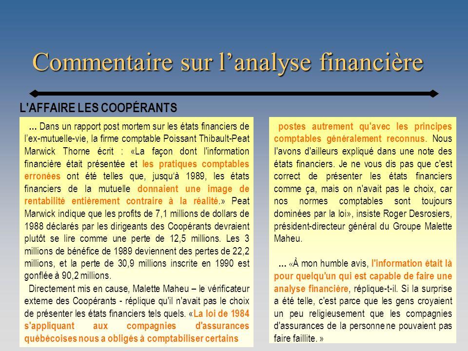 Commentaire sur l'analyse financière
