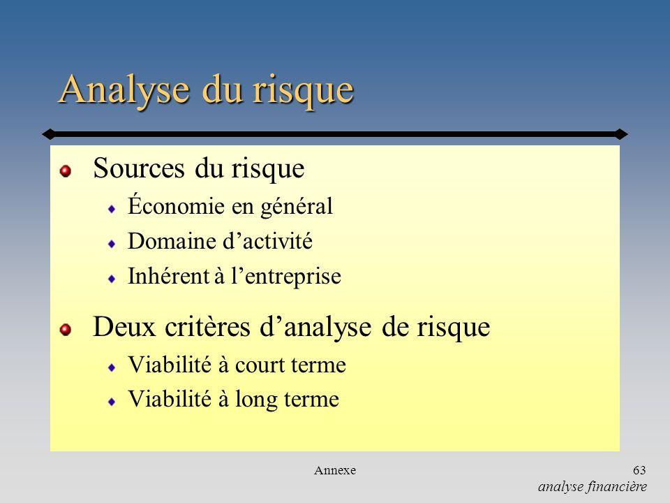 Analyse du risque Sources du risque Deux critères d'analyse de risque