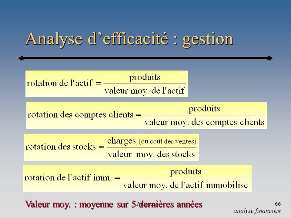 Analyse d'efficacité : gestion