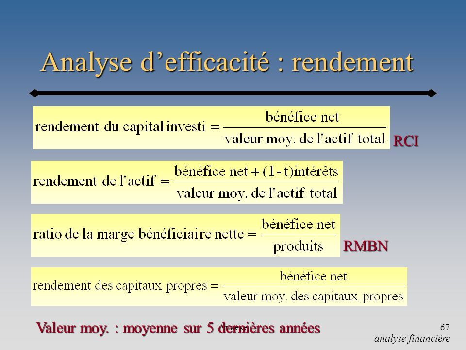 Analyse d'efficacité : rendement