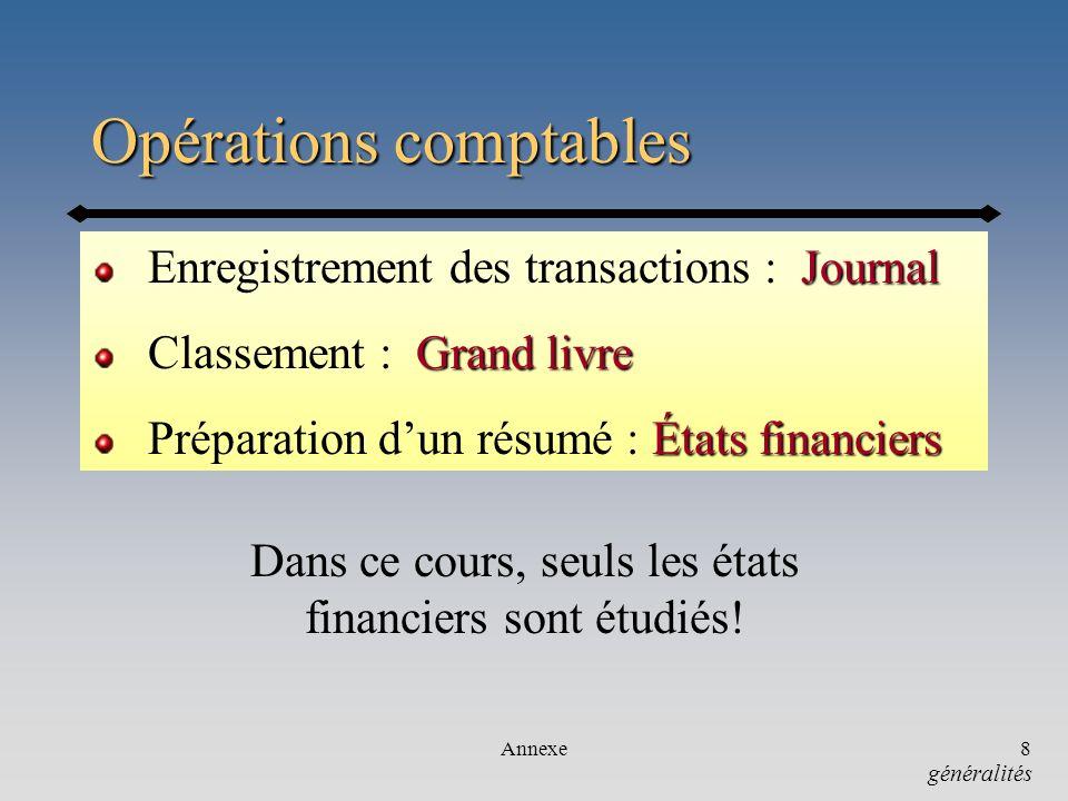 Opérations comptables