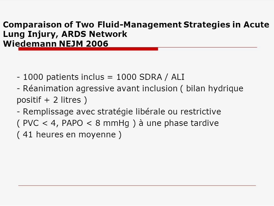 Comparaison of Two Fluid-Management Strategies in Acute Lung Injury, ARDS Network Wiedemann NEJM 2006