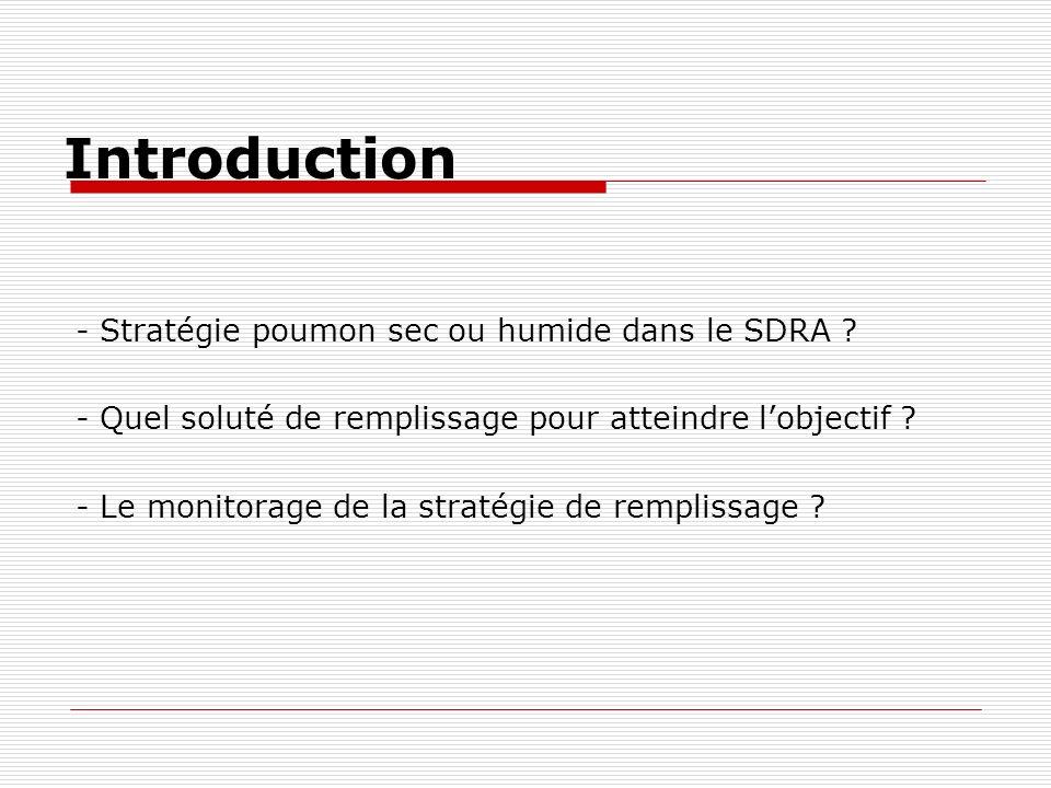 Introduction - Stratégie poumon sec ou humide dans le SDRA