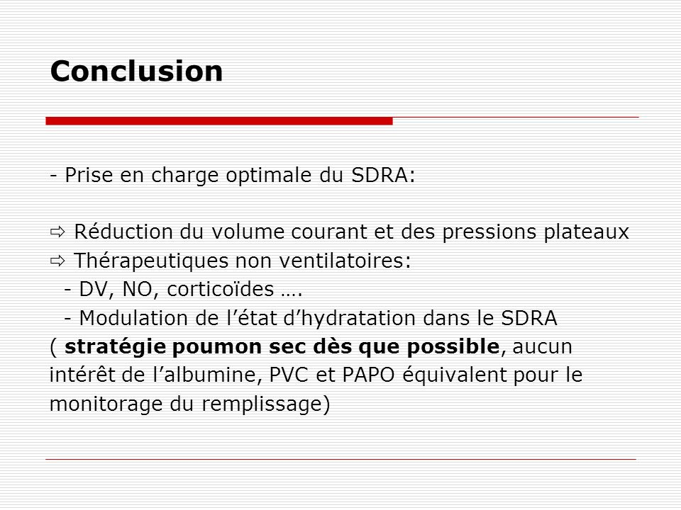 Conclusion - Prise en charge optimale du SDRA: