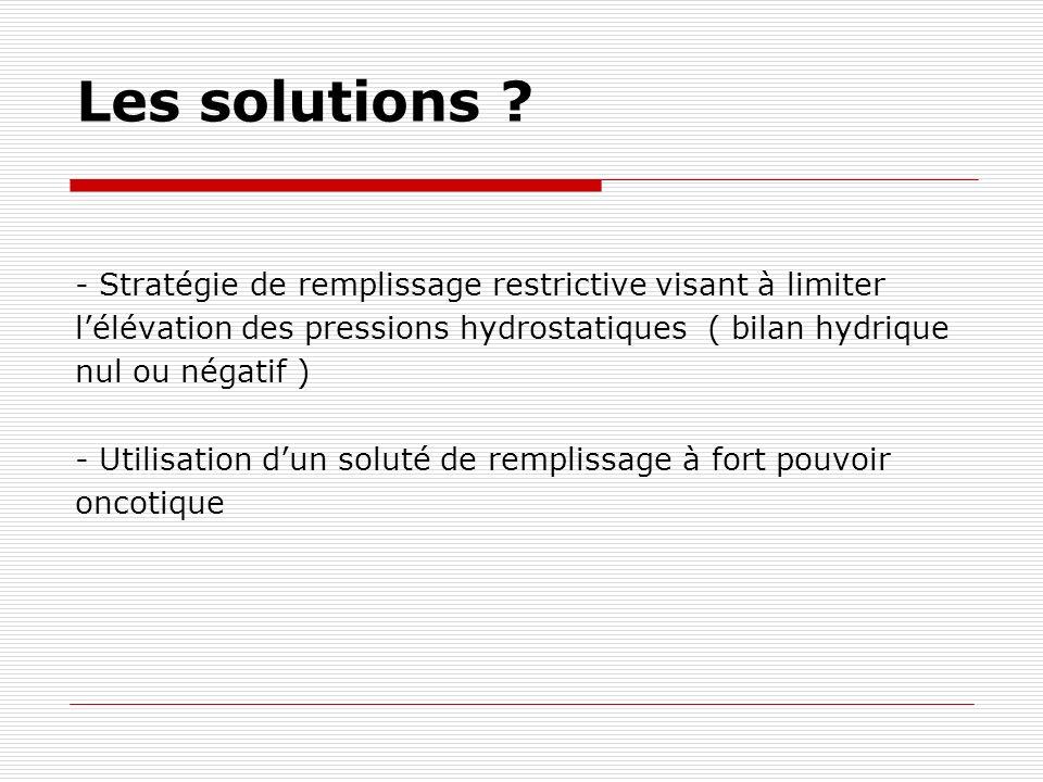 Les solutions - Stratégie de remplissage restrictive visant à limiter. l'élévation des pressions hydrostatiques ( bilan hydrique.