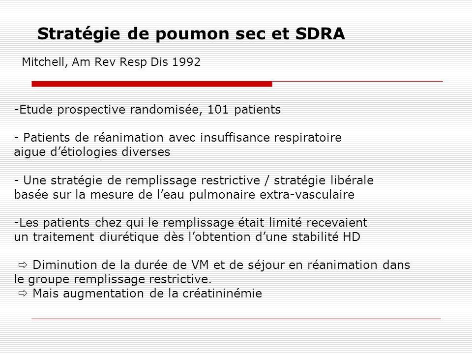 Stratégie de poumon sec et SDRA Mitchell, Am Rev Resp Dis 1992