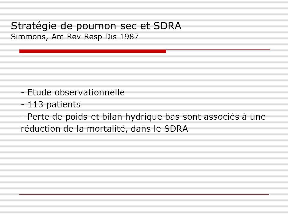 Stratégie de poumon sec et SDRA Simmons, Am Rev Resp Dis 1987