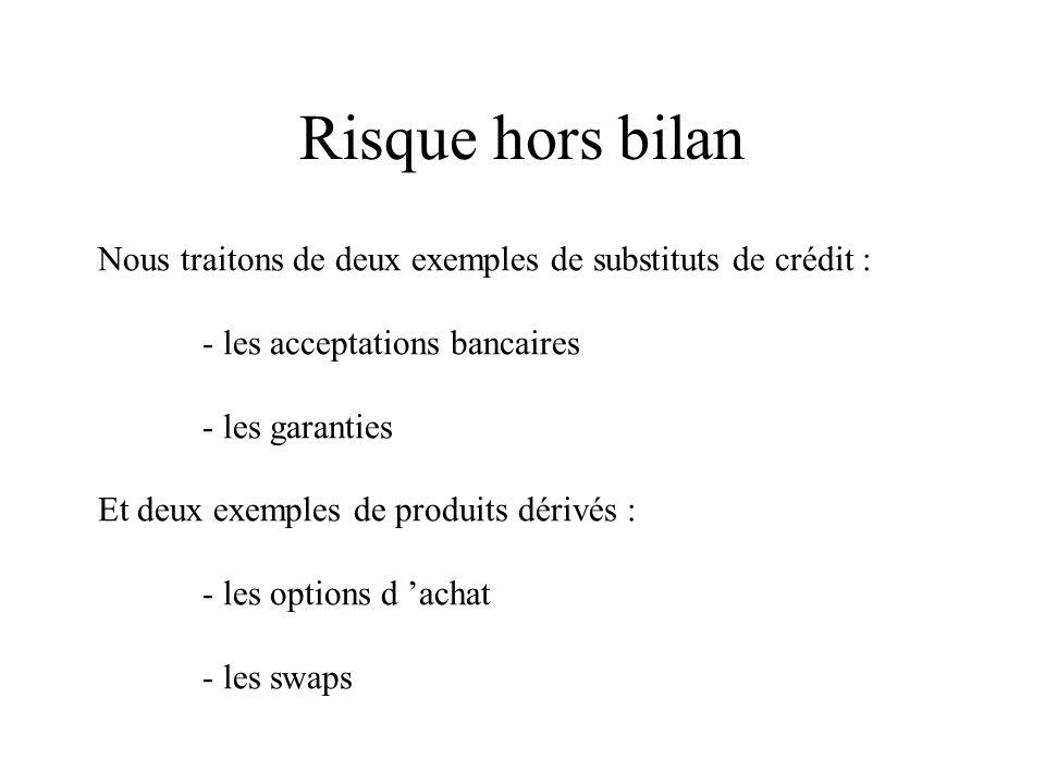 Risque hors bilan Nous traitons de deux exemples de substituts de crédit : - les acceptations bancaires.