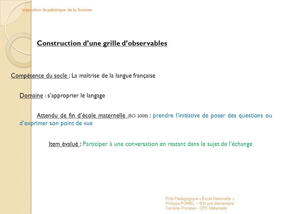 Construction d'une grille d'observables