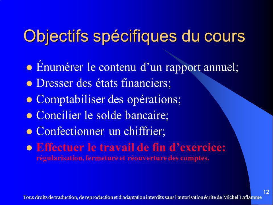 Objectifs spécifiques du cours