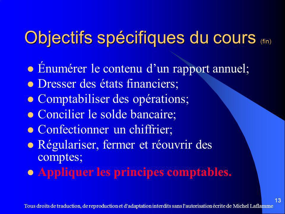 Objectifs spécifiques du cours (fin)