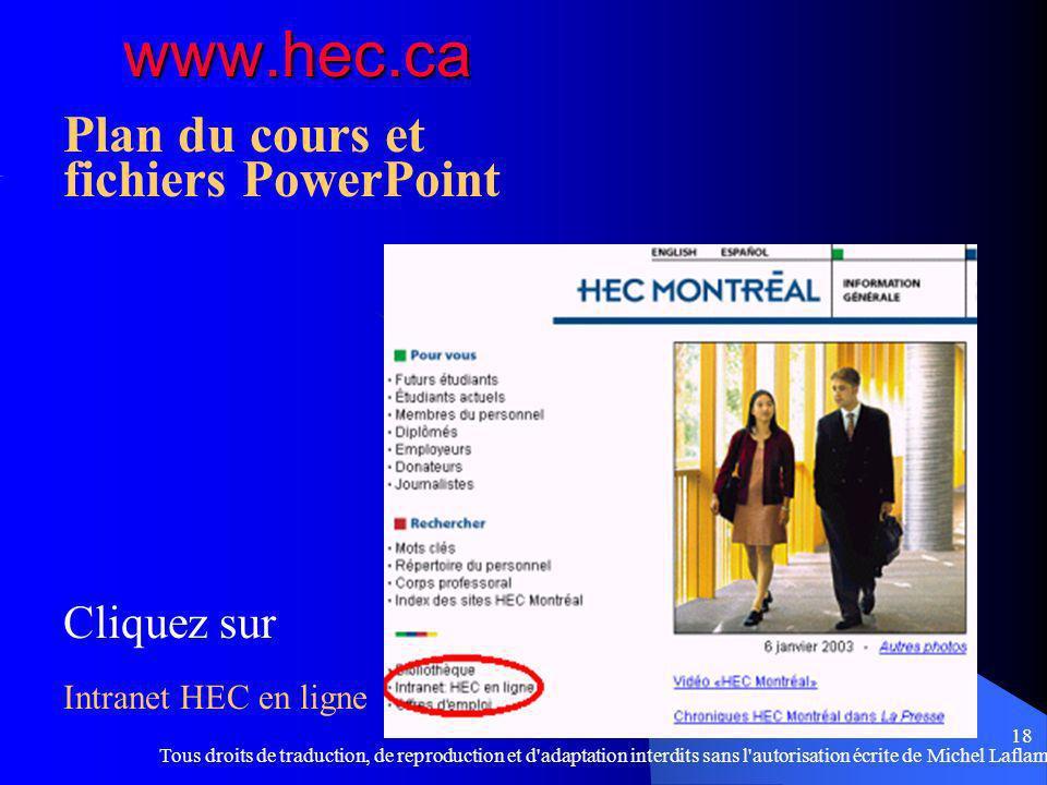Plan du cours et fichiers PowerPoint Cliquez sur Intranet HEC en ligne