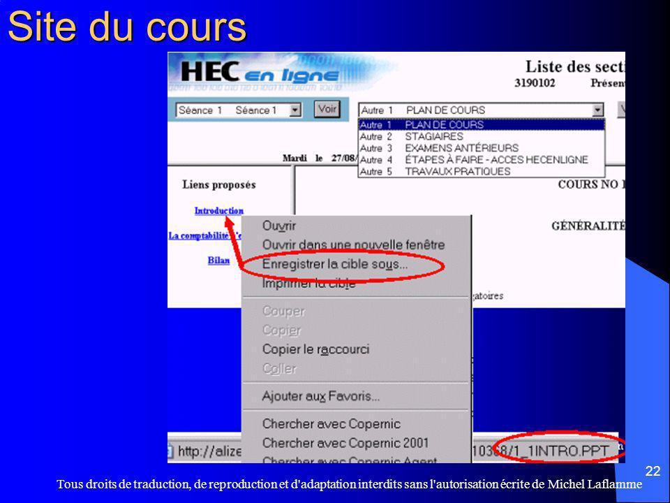 Site du cours Tous droits de traduction, de reproduction et d adaptation interdits sans l autorisation écrite de Michel Laflamme.
