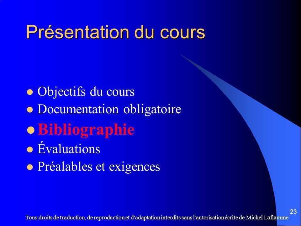 Présentation du cours Bibliographie Objectifs du cours