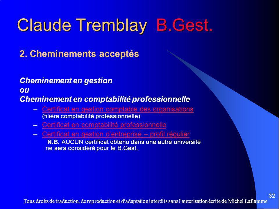 Claude Tremblay B.Gest. 2. Cheminements acceptés