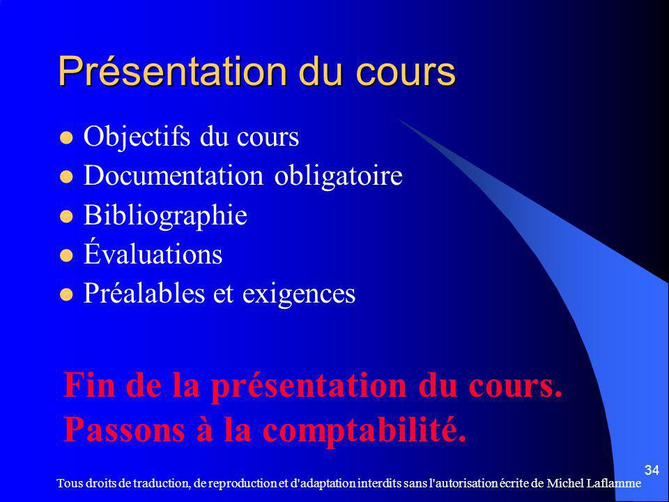 Présentation du cours Fin de la présentation du cours.