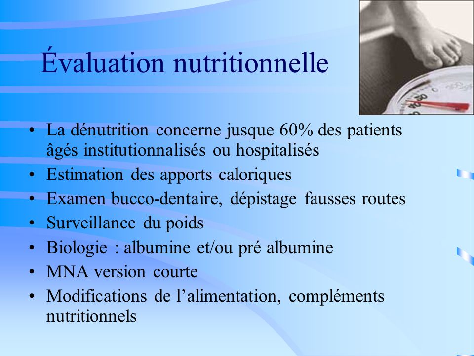 Évaluation nutritionnelle