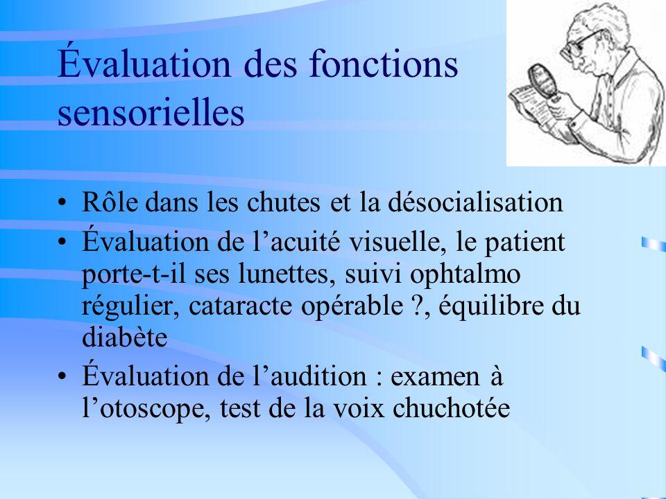 Évaluation des fonctions sensorielles