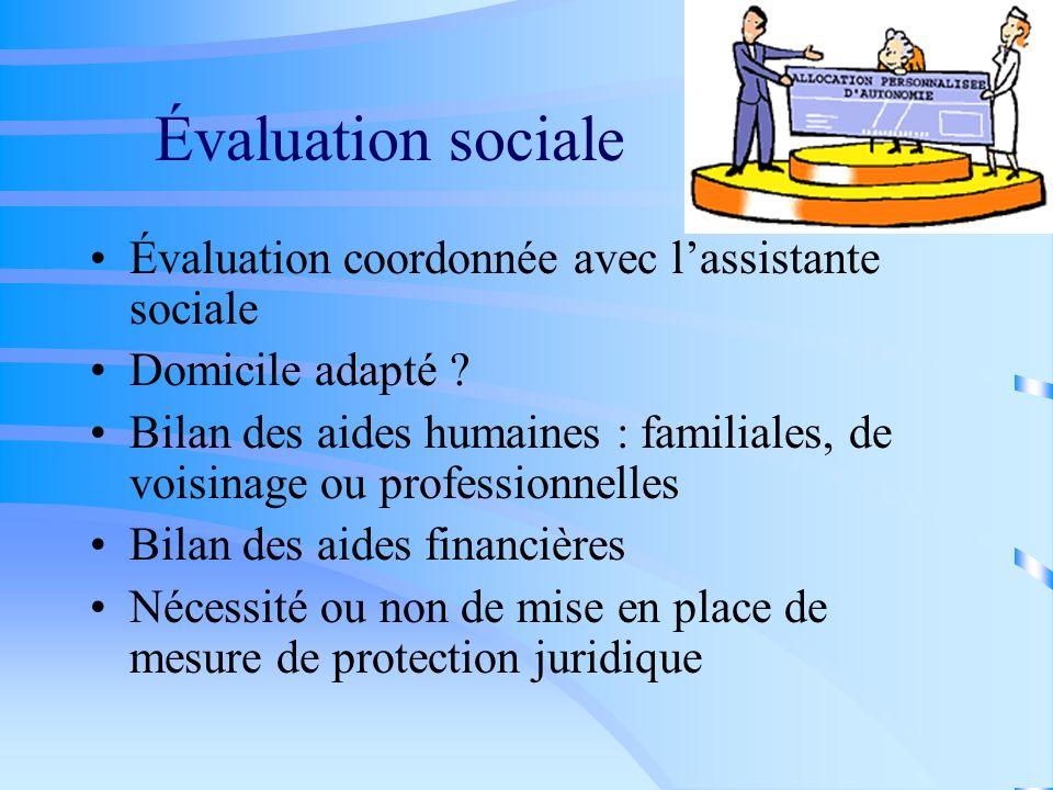 Évaluation sociale Évaluation coordonnée avec l'assistante sociale