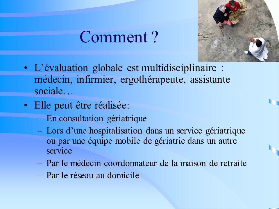 Comment L'évaluation globale est multidisciplinaire : médecin, infirmier, ergothérapeute, assistante sociale…