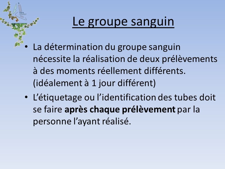 Le groupe sanguin