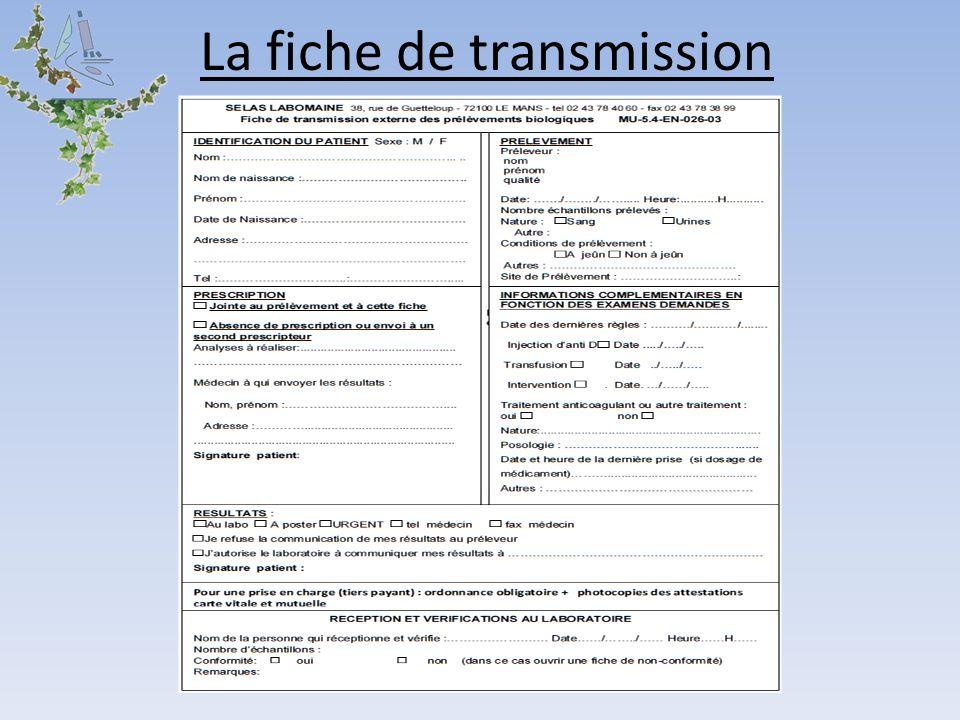 La fiche de transmission