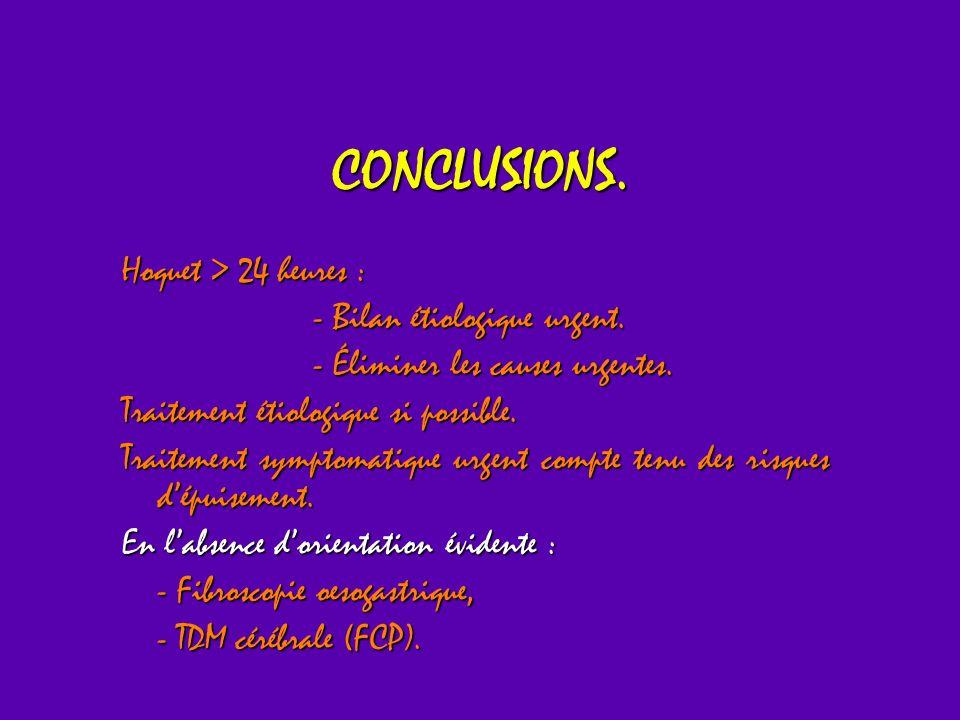 CONCLUSIONS. Hoquet > 24 heures : - Bilan étiologique urgent.