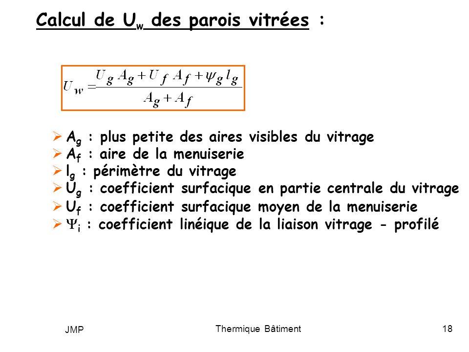 Calcul de Uw des parois vitrées :