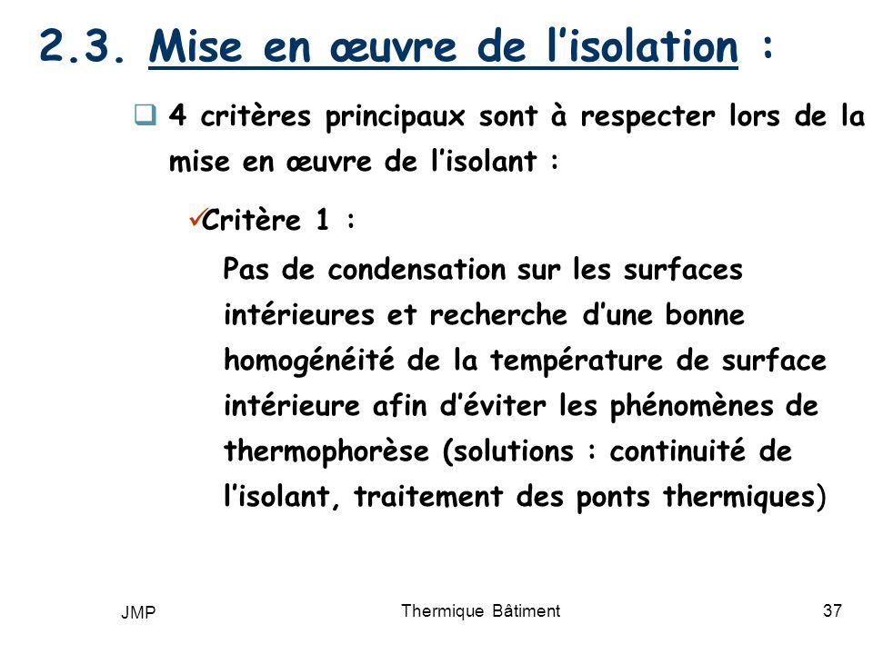 2.3. Mise en œuvre de l'isolation :