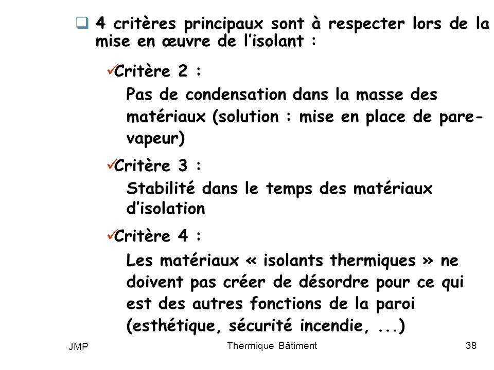 Stabilité dans le temps des matériaux d'isolation Critère 4 :