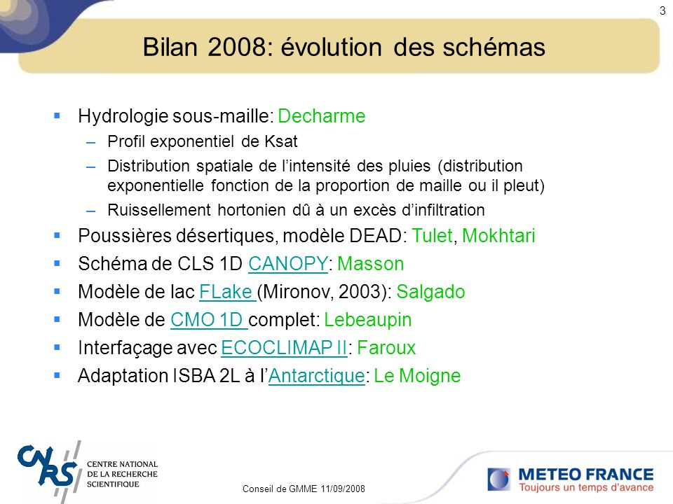 Bilan 2008: évolution des schémas