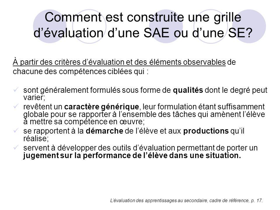 Comment est construite une grille d'évaluation d'une SAE ou d'une SE