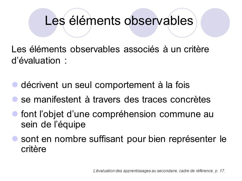Les éléments observables