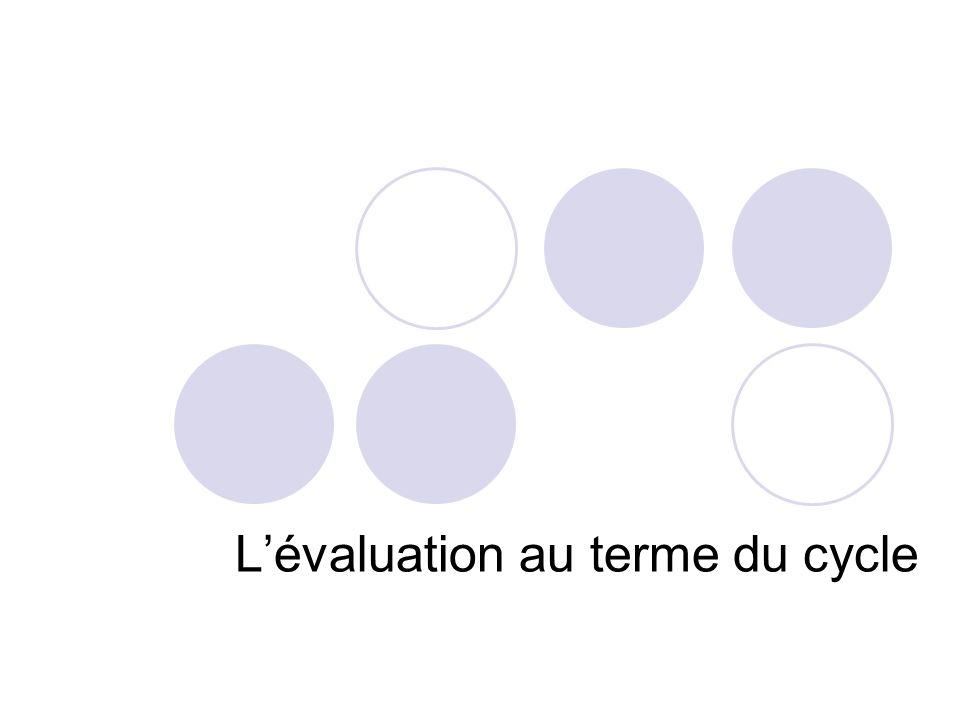 L'évaluation au terme du cycle