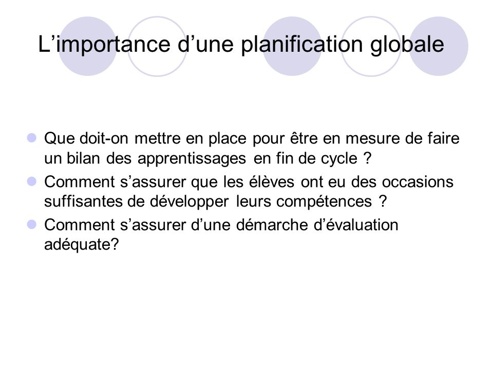 L'importance d'une planification globale