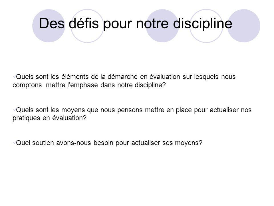 Des défis pour notre discipline