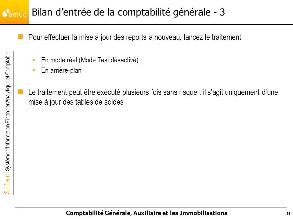 Bilan d'entrée de la comptabilité générale - 3