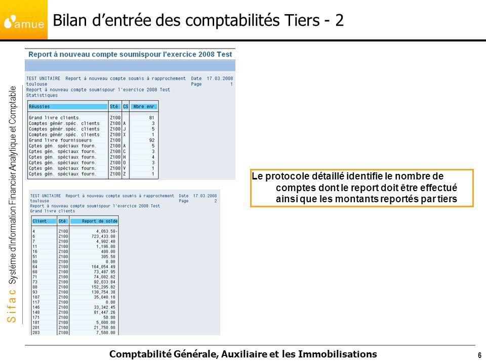 Bilan d'entrée des comptabilités Tiers - 2