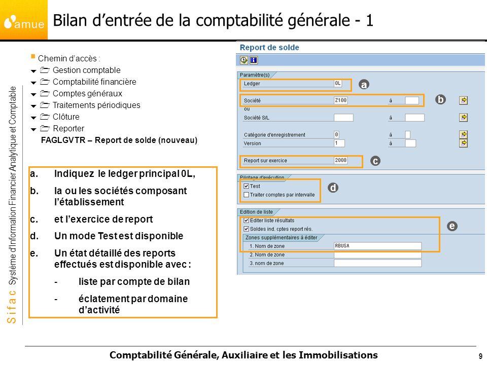 Bilan d'entrée de la comptabilité générale - 1