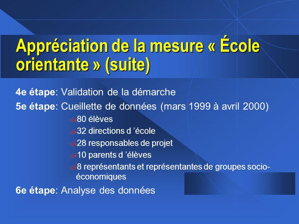 Appréciation de la mesure « École orientante » (suite)
