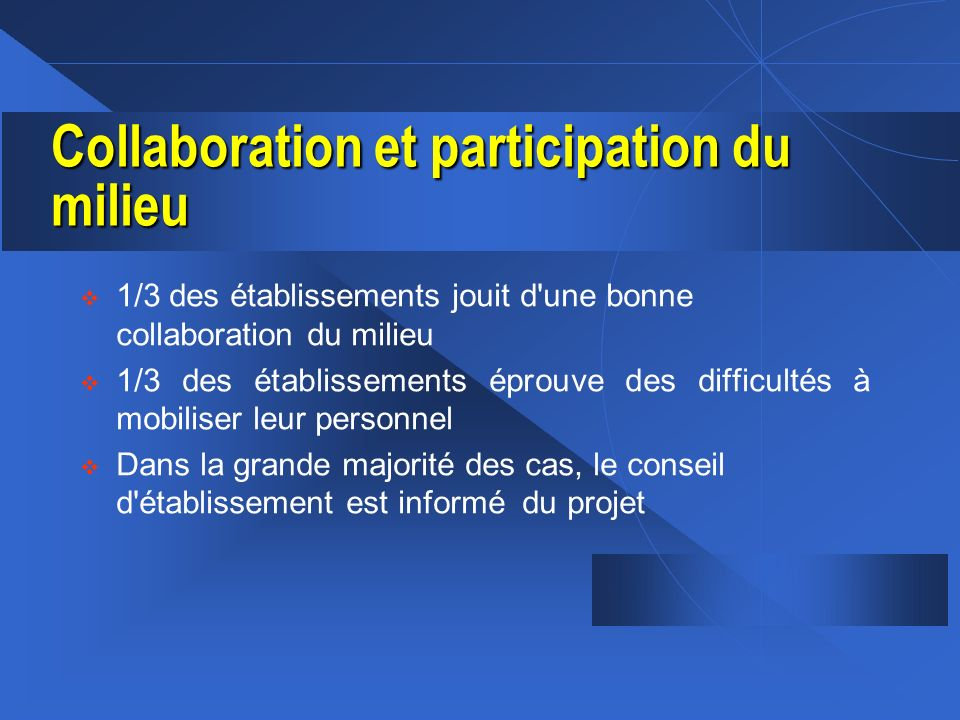 Collaboration et participation du milieu