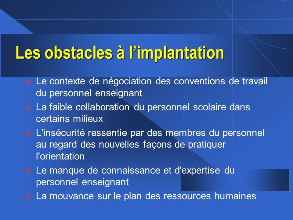 Les obstacles à l'implantation