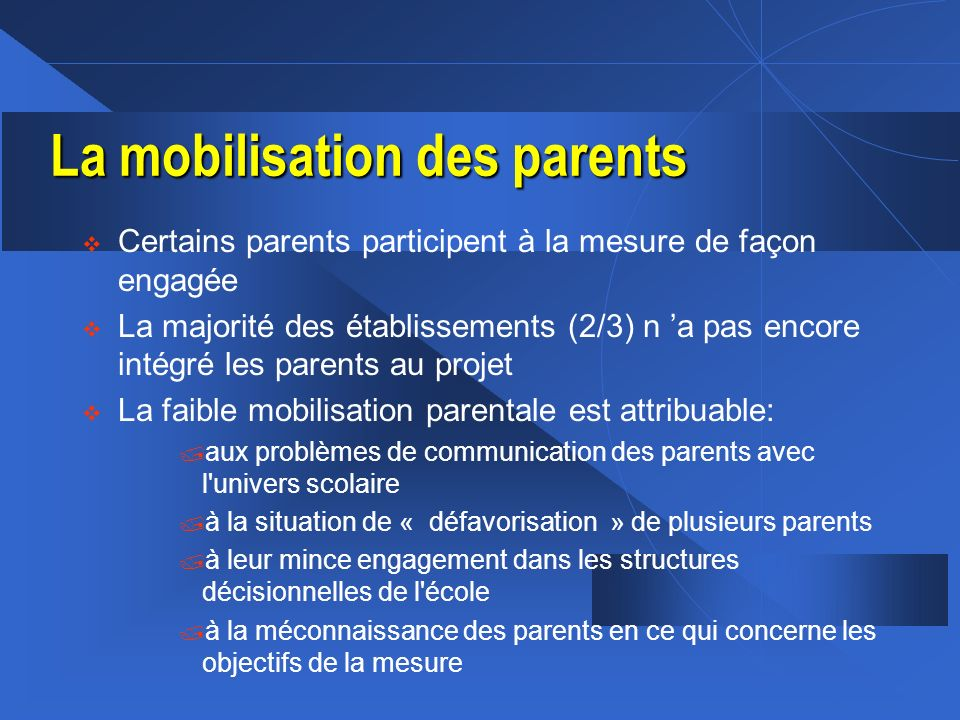 La mobilisation des parents