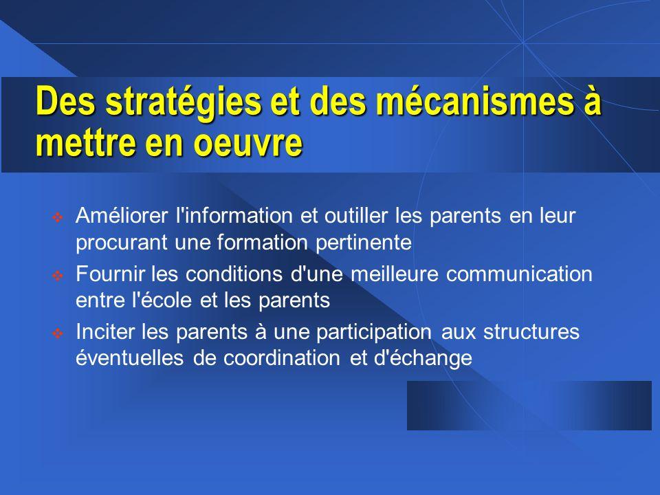 Des stratégies et des mécanismes à mettre en oeuvre