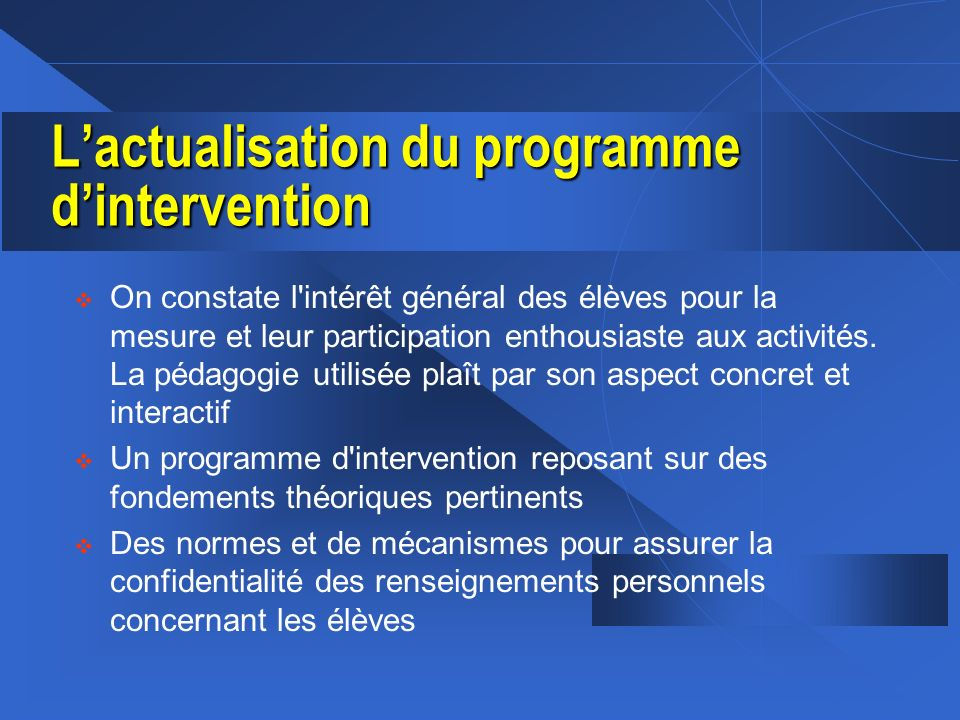 L'actualisation du programme d'intervention