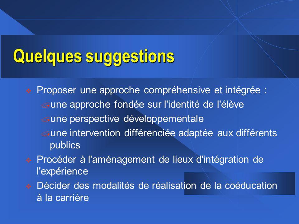 Quelques suggestions Proposer une approche compréhensive et intégrée :