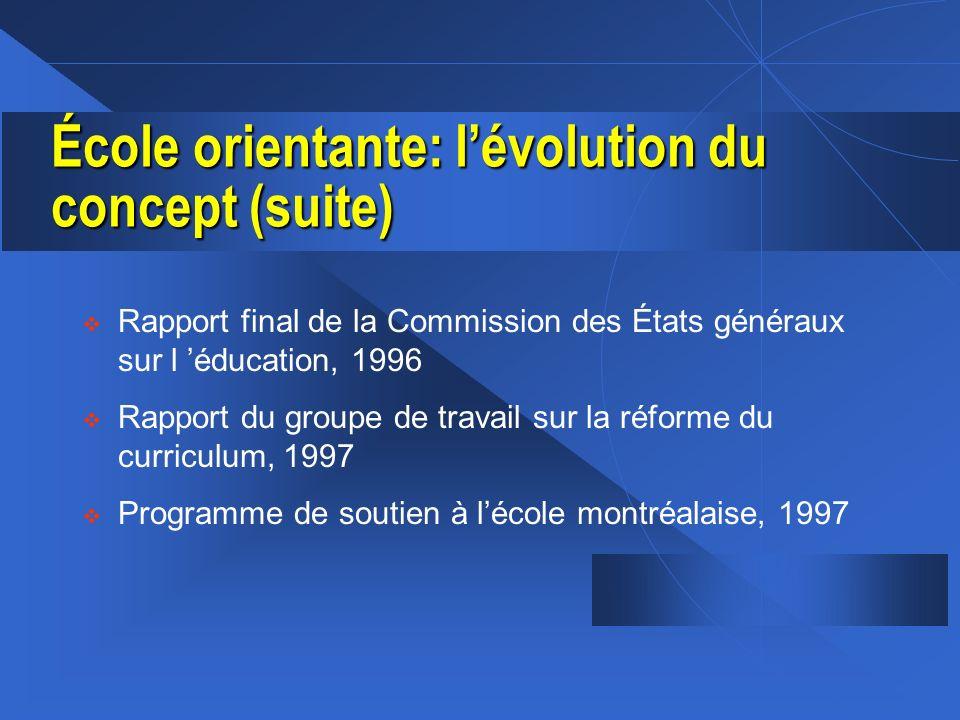 École orientante: l'évolution du concept (suite)