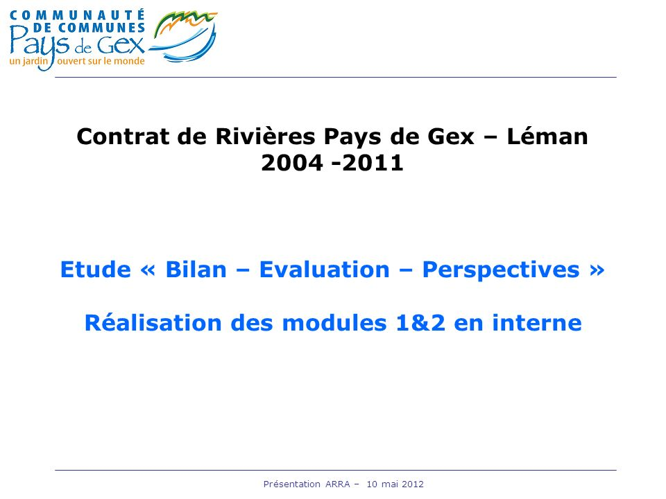 Contrat de Rivières Pays de Gex – Léman 2004 -2011