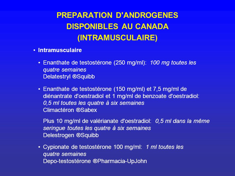 PREPARATION D ANDROGENES DISPONIBLES AU CANADA (INTRAMUSCULAIRE)
